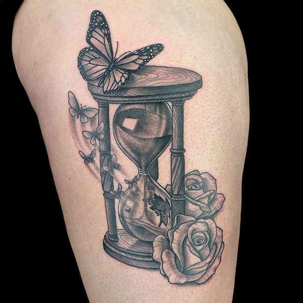 Roses Hour Glasses Tattoo: Elimination Tattoos: Hourglass