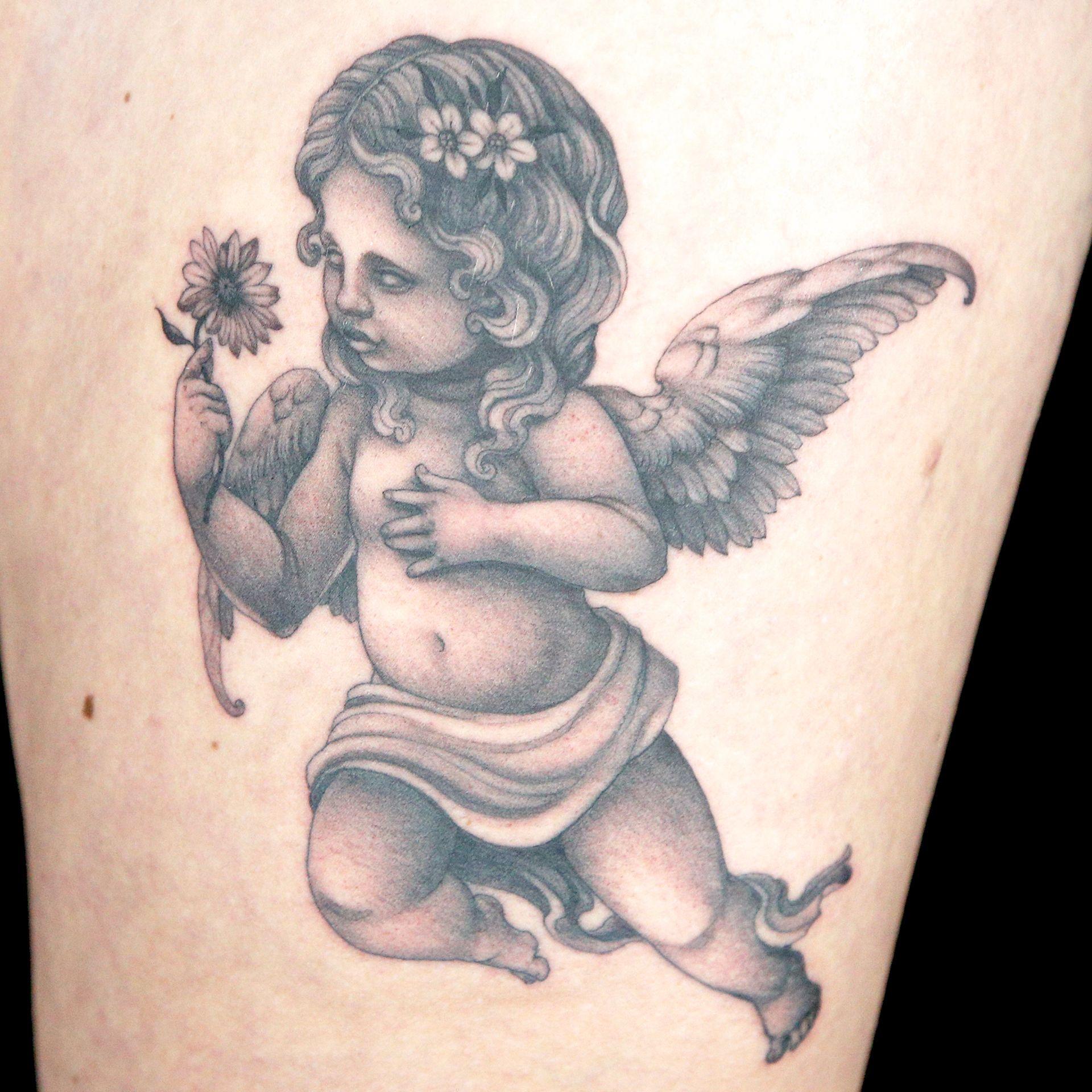 Elimination Tattoo: Black & Grey Cherubs - Ink Master